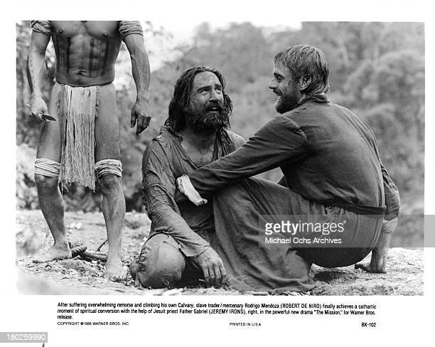 Actors Robert De Niro and Jeremy Irons on the set of Warner Bros movie ' The Mission' in 1986