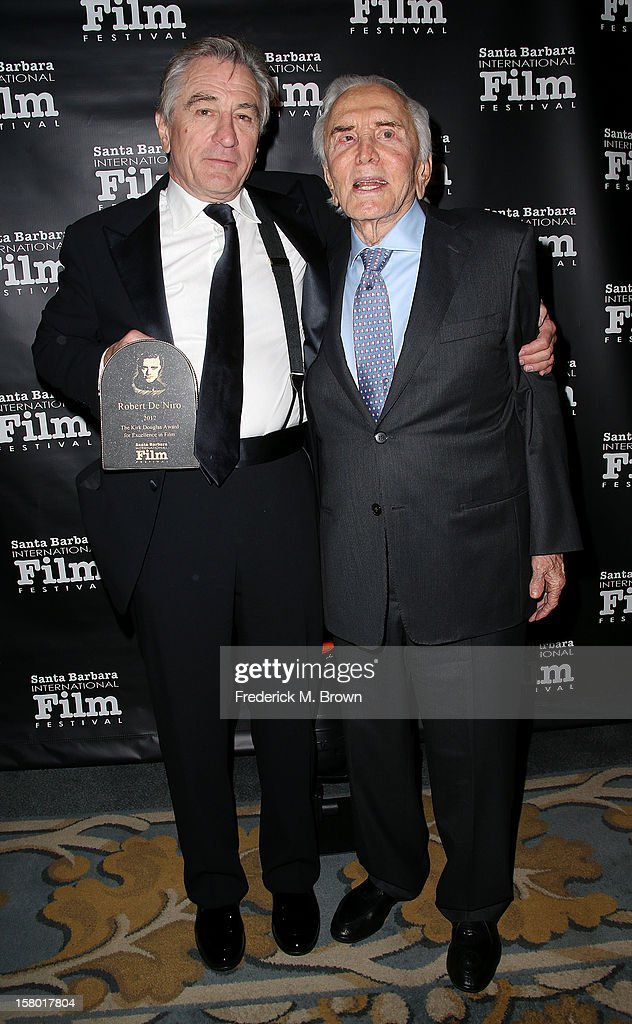 Actors Robert De Niro (L) and Kirk Douglas attend the SBIFF's 2012 Kirk Douglas Award For Excellence In Film during the Santa Barbara Film Festival on December 8, 2012 in Goleta, California.