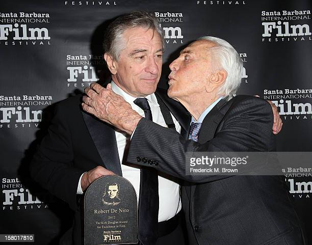 Actors Robert De Niro and Kirk Douglas attend the SBIFF's 2012 Kirk Douglas Award For Excellence In Film during the Santa Barbara Film Festival on...