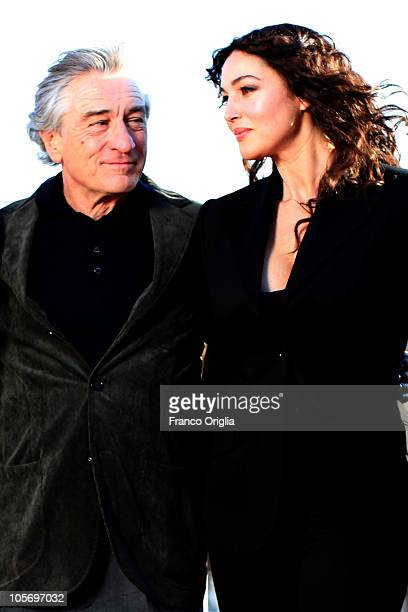 Actors Robert De Niro and Monica Bellucci attend 'Manuale d'Amore 3' official presentation of movie cast at De Russie Hotel on October 19 2010 in...