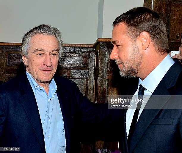 Actors Robert De Niro and Russell Crowe attend the Australian Academy Of Cinema And Television Arts' 2nd AACTA International Awards at Soho House on...