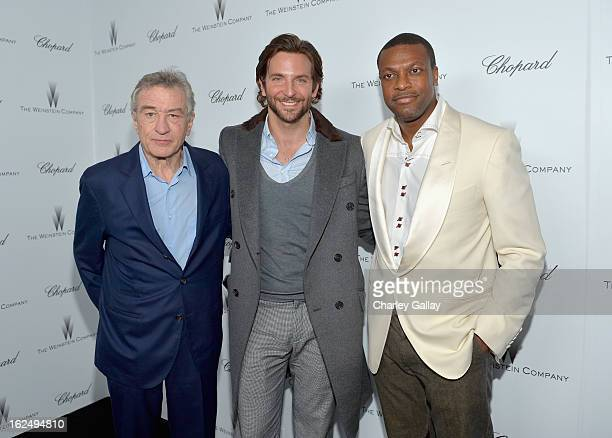 Actors Robert De Niro Bradley Cooper and Chris Tucker attend The Weinstein Company and Chopard's Academy Award Party in association with Grey Goose...