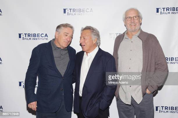 Actors Robert De Niro Dustin Hoffman and Chevy Chase attend the 20th Anniversary screening of 'Wag The Dog' at 92nd Street Y on December 4 2017 in...