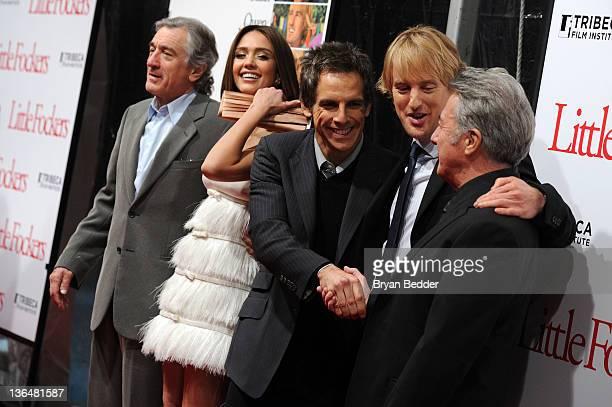 Actors Robert De Niro Jessica Alba Ben Stiller Owen Wilson and Dustin Hoffman attend the world premiere of 'Little Fockers' at the Ziegfeld Theatre...