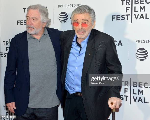 Actors Robert DeNiro and Burt Reylonds attend the Dog Years Premiere during 2017 Tribeca Film Festival at Cinepolis Chelsea on April 22 2017 in New...