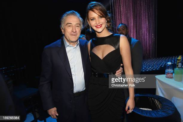 Actors Robert DeNiro and Jennifer Lawrence attend the 18th Annual Critics' Choice Movie Awards held at Barker Hangar on January 10 2013 in Santa...