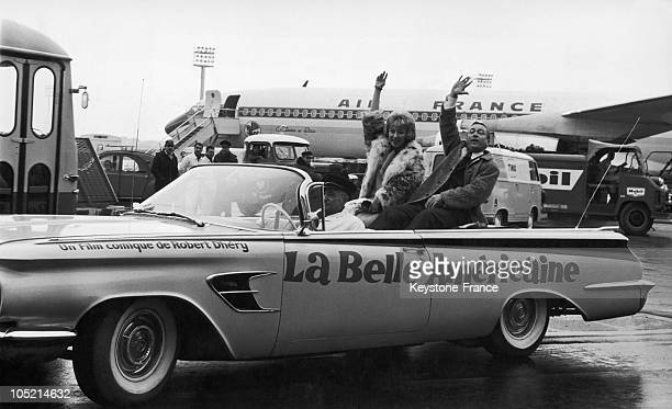 Actors Robert Dhery And Colette Brosset In The Cadillac Of The Movie The American Beauty Boarding A Boeing Aircraft To New York Where They Would Show...