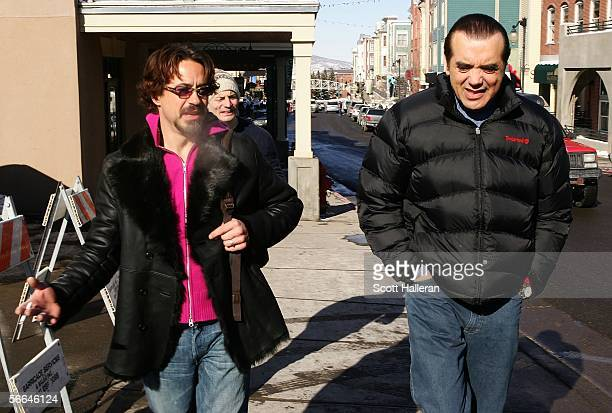 Actors Robert Downey and Chazz Palminteri walk on Main Street during the 2006 Sundance Film Festival January 22 2006 in Park City Utah