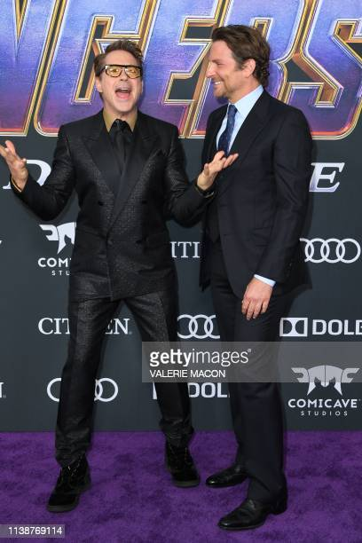US actors Robert Downey Jr and Bradley Cooper arrive for the World premiere of Marvel Studios' Avengers Endgame at the Los Angeles Convention Center...