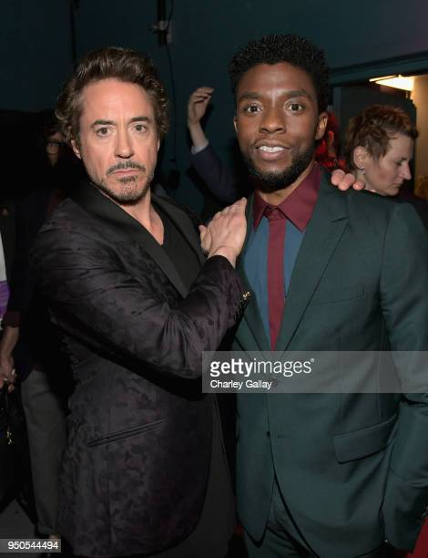 Actors Robert Downey Jr and Chadwick Boseman attend the Los Angeles Global Premiere for Marvel Studios' Avengers Infinity War on April 23 2018 in...