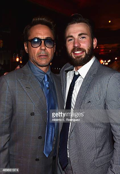 Actors Robert Downey Jr and Chris Evans attend the after party for Marvel's 'Avengers Age Of Ultron' at Ohm Nightclub on April 13 2015 in Hollywood...