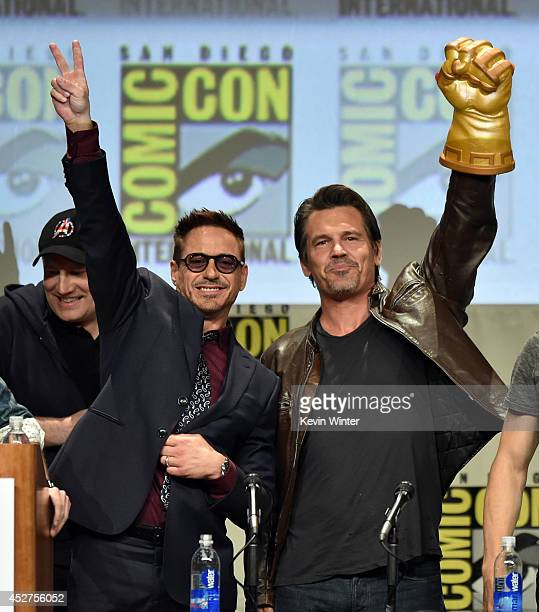 Actors Robert Downey Jr. And Josh Brolin attend the Marvel Studios panel during Comic-Con International 2014 at San Diego Convention Center on July...