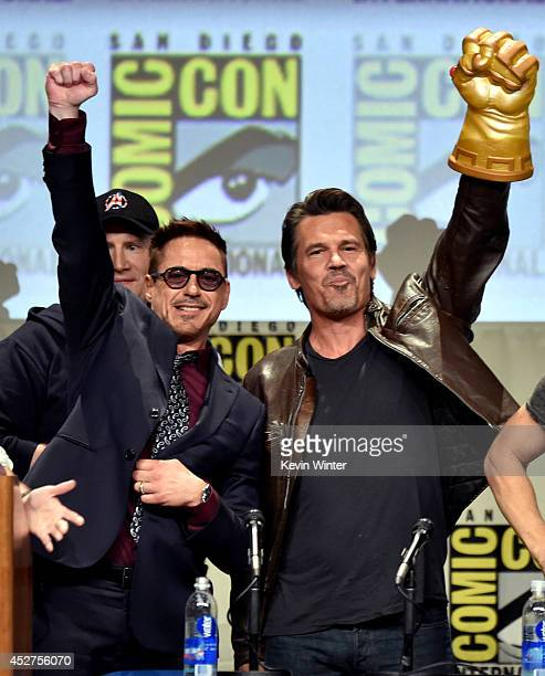 Actors Robert Downey Jr and Josh Brolin attend the Marvel Studios panel during ComicCon International 2014 at San Diego Convention Center on July 26...