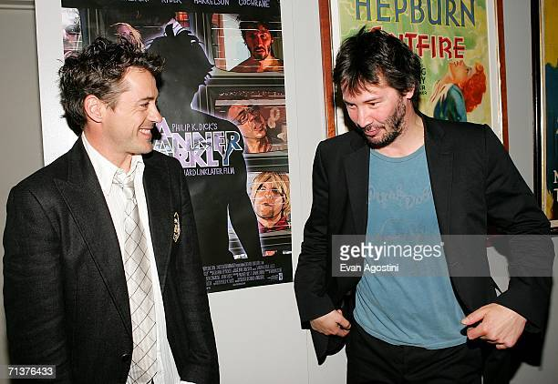 Actors Robert Downey Jr and Keanu Reeves attend The Film Society of Lincoln Center's screening of A Scanner Darkly at The Walter Reade Theater July 5...