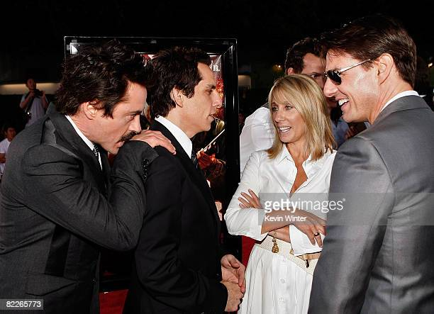 Actors Robert Downey Jr Ben Stiller Dreamworks CEO Stacey Snider and actor Tom Cruise arrive on the red carpet of the Los Angeles Premiere of Tropic...