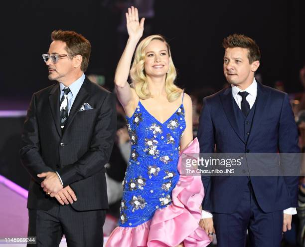 Actors Robert Downey Jr Brie Larson and Jeremy Renner during the Avengers End Game fan event at Jangchung Gymnasium on April 15 2019 in Seoul South...