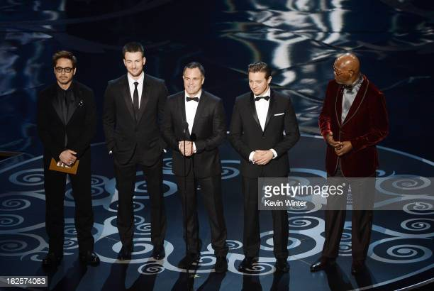 Actors Robert Downey Jr Chris Evans Mark Ruffalo Jeremy Renner and Samuel L Jackson present onstage during the Oscars held at the Dolby Theatre on...