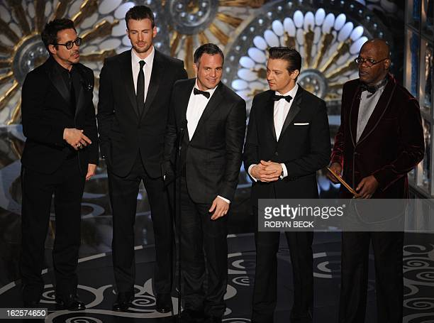 Actors Robert Downey Jr Chris Evans Mark Ruffalo Jeremy Renner and Samuel L Jackson present the Oscar for cinematography onstage at the 85th Annual...