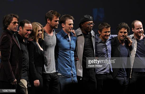 Actors Robert Downey Jr Clark Gregg Scarlett Johansson Chris Hemsworth Chris Evans Samuel L Jackson Jeremy Renner Mark Ruffalo and writer/Director...