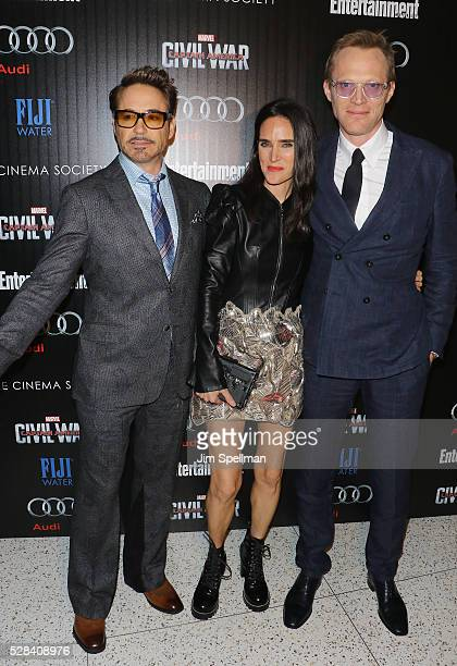Actors Robert Downey Jr Jennifer Connelly and Paul Bettany attend the screening of Marvel's 'Captain America Civil War' hosted by The Cinema Society...