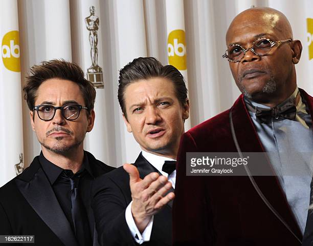 Actors Robert Downey Jr Jeremy Renner and Samuel L Jackson in the press room during the 85th Annual Academy Awards at Loews Hollywood Hotel on...