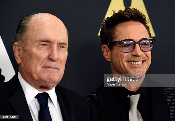 Actors Robert Duvall and Robert Downey Jr attend the Academy Of Motion Picture Arts And Sciences' 2014 Governors Awards at The Ray Dolby Ballroom at...