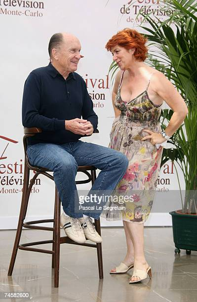 Actors Robert Duvall and Veronique Genest attend a photocall on the third day of the 2007 Monte Carlo Television Festival held at Grimaldi Forum on...