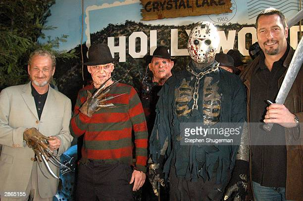 Actors Robert Englund and Ken Kirzinger pose at the Hollywood Wax Mueum with lookalike winners of Freddy and Jason at the debut of the DVD release of...