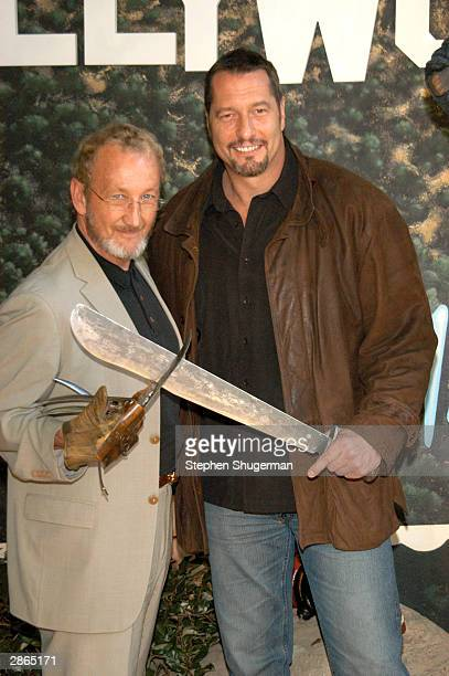 Actors Robert Englund and Ken Kirzinger pose at the wax figure unveiling and DVD release of Freddy Vs Jason at the Hollywood Wax Muesum on January 13...