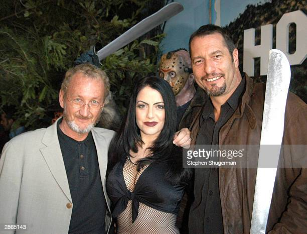 Actors Robert Englund Ivonna Cadaver and Ken Kirzinger pose at the wax figure unveiling and DVD release of Freddy Vs Jason at the Hollywood Wax...