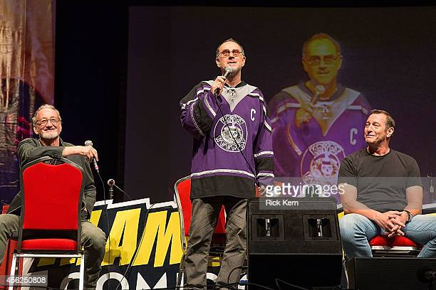 Actors Robert Englund John Kassir and Ken Kirzinger attend day two of the Alamo City Comic Con at the Henry B Gonzalez Convention Center on September...