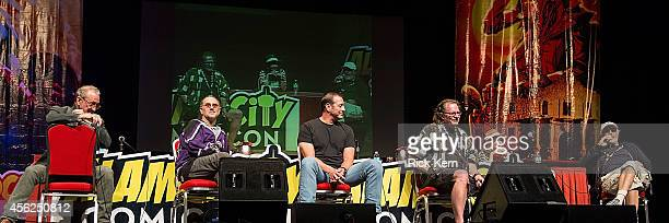 Actors Robert Englund John Kassir Ken Kirzinger Tommy Lee Wallace Linda Blair and Nick Castle attend day two of the Alamo City Comic Con at the Henry...