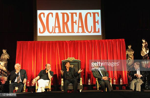 Actors Robert Loggia F Murray Abraham Al Pacino Steven Bauer and producer Martin Bregman attend a Q and A at a cast reunion celebrating the Scarface...