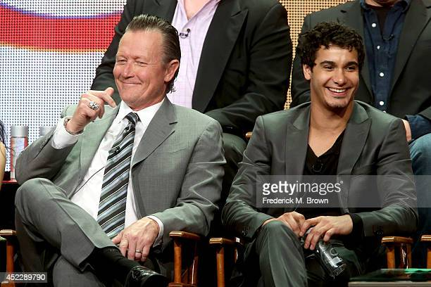 "Actors Robert Patrick and Elyes Gabel speak onstage at the ""Scorpion"" panel during the CBS Network portion of the 2014 Summer Television Critics..."