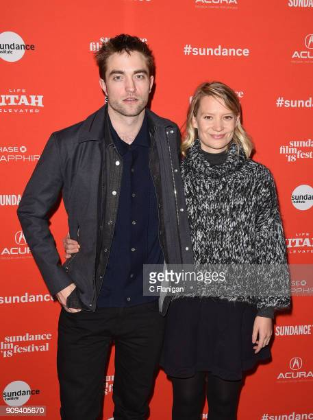 Actors Robert Pattinson and Mia Wasikowska attend the premiere of 'Damsel' during the 2018 Sundance Film Festival at Eccles Theatre on January 23...