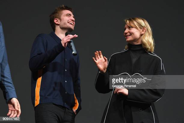 Actors Robert Pattinson and Mia Wasikowska speak onstage during the 'Damsel' Premiere during the 2018 Sundance Film Festival at Eccles Center Theatre...