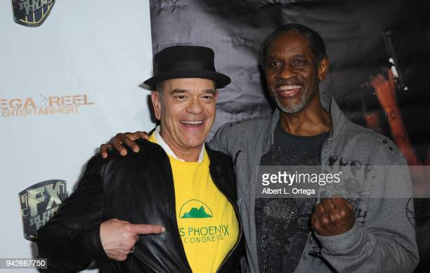 Actors Robert Picardo and Tim Russ arrive for the Los Angeles Premiere of 'Miles To Go' held at Writers Guild Theater on April 5 2018 in Beverly...