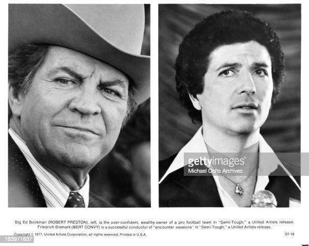 Actors Robert Preston and Bert Convy on set for the United Artists movie SemiTough in 1977