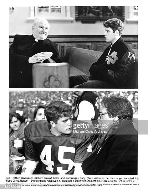 Actors Robert Prosky and Sean Astin actor Sean Astin and director David Anspaugh on set of the TriStar Pictures movie 'Rudy' in 1993