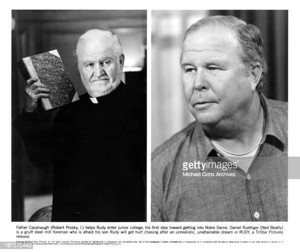 Actors Robert Prosky Ned Beatty on set of the TriStar Pictures movie Rudy in 1993