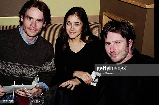 Actors Robert Sean Leonard Lily Thorne and Josh Hamilton at an afterparty for the premiere of The Jimmy Show at Kanvas bar and lounge in New York...