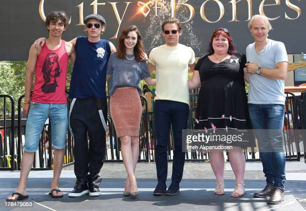 Actors Robert Sheehan Jamie Campbell Bower Lily Collins Kevin Zegers author Cassandra Clare and director Harald Zwart attend Screen Gems Constantin...