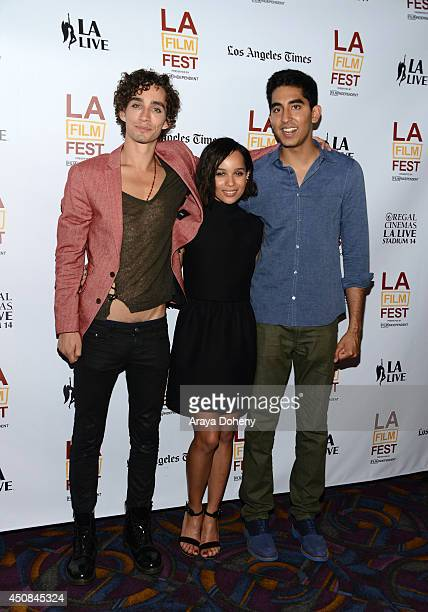 Actors Robert Sheehan Zoe Kravitz and Dev Patel attend the premiere of The Road Within during the 2014 Los Angeles Film Festival at Regal Cinemas LA...