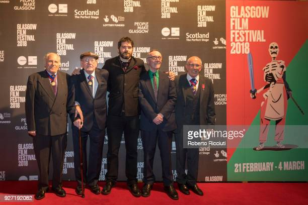 Actors Robert Somerville Bob Fulton director Felipe Bustos Sierra actors Stuart Barrie and John Keenan attend the World Premiere of 'Nae Pasaran' and...