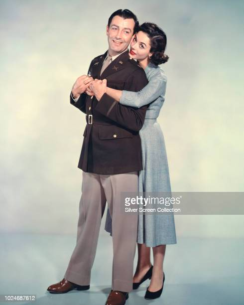 Actors Robert Tayor and Dana Wynter in a publicity still for the World War II film 'DDay the Sixth of June' 1956