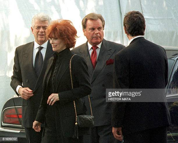 US actors Robert Wagner and Jill St John arrive with two other unidentified people to the Roman Catholic Church of the Good Shepherd in Beverly Hills...