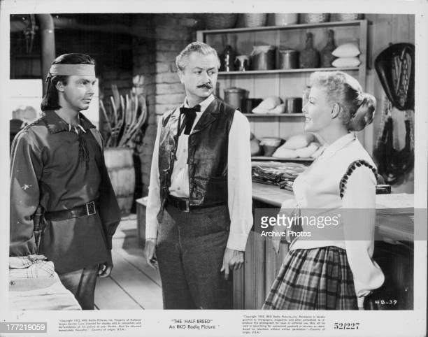Actors Robert Young Janis Carter Jack Buetel in a scene from the the movie 'Half Breed' 1952