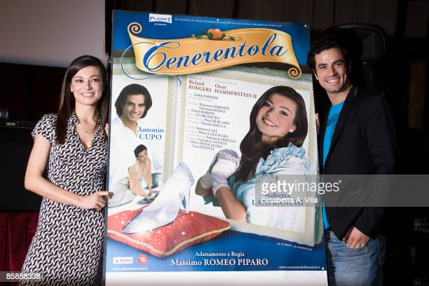 Actors Roberta Lanfranchi and Antonio Cupo attend a photocall for the musical 'Cinderella' at Sistina Theatre on April 7, 2009 in Rome, Italy.