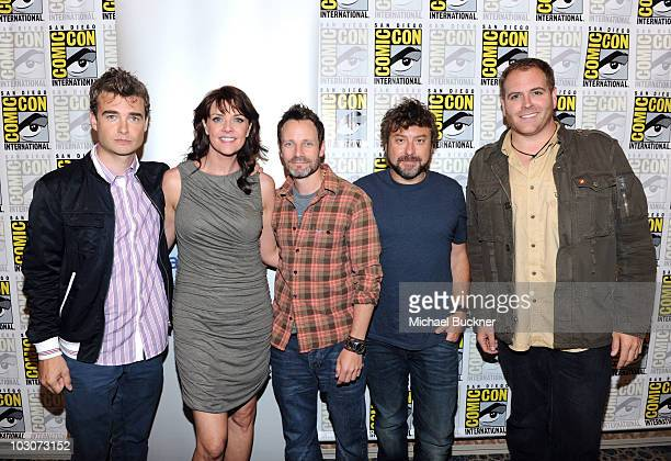 Actors Robin Dunne Amanda Tapping Robin Dunne creator Damian Kindler and Josh Gates attend 'Sanctuary' Panel and Press Conference at Hilton San Diego...