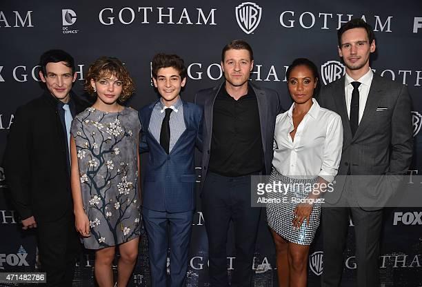 "Actors Robin Lord Taylor, Cameron Bicondova, David Mazouz, Benjamin McKenzie, Jada Pinkett Smith and Cory Michael Smith attend Fox's ""Gotham"" Season..."